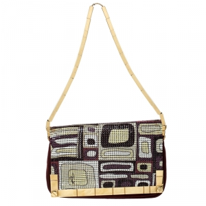 Emilio Pucci Multicolor Suede and Metal Armored Mesh Flap Shoulder Bag