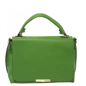 Emilio Pucci Green Leather Flap Top Handle Bag