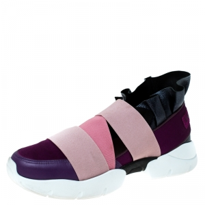 Emilio Pucci Multicolor Leather and Satin City Up Ruffle Sneakers Size 38