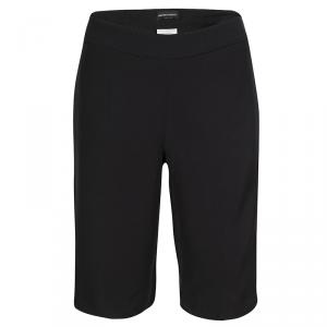 Emporio Armani Black Satin Side Stripe Detail Fitted Tuxedo Shorts M