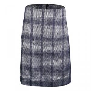Emporio Armani Navy Blue and Grey Checkered Jacquard Pencil Skirt S