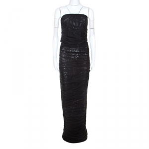 Emporio Armani Black Stretch Net Ruched Evening Gown M