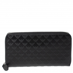 Emporio Armani Black Logo Embossed Leather Zip Around Wallet