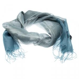 Emporio Armani Blue Silk and Wool Organza Lurex Striped Tassel Detail Scarf