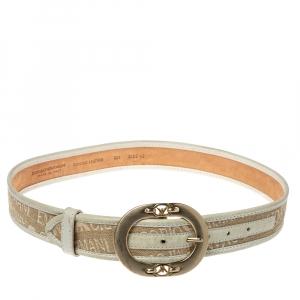 Emporio Armani Beige/Light Green Canvas and Leather Trim Logo Buckle Belt 85CM