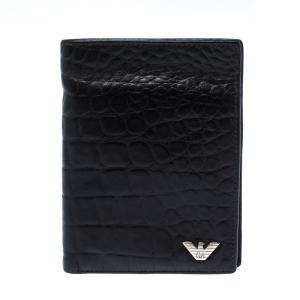 Emporio Armani Dark Brown Croc Embossed Leather Eagle Bi Fold Wallet