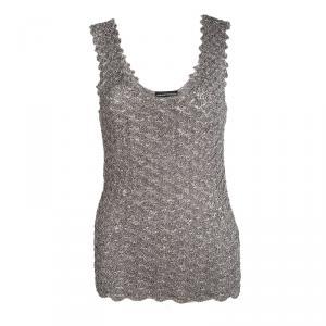 Emporio Armani Metallic Sleeveless Crocheted Top M