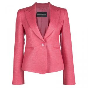 Emporio Armani Coral Pink Basket Weave Tailored Blazer S