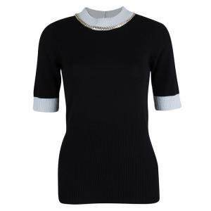Emporio Armani Black Wool Contrast Ribbed Trim Neck Embellished Sweater M