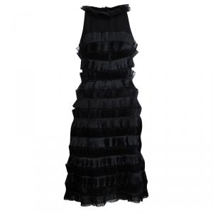 Emporio Armani Black Frill Detail Sleeveless Dress M