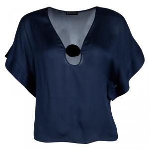 Emporio Armani Navy Blue Silk Contrast Buckle Detail Sheer Top S