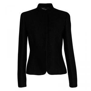 Emporio Armani Black Textured Knit Button Front Jacket M