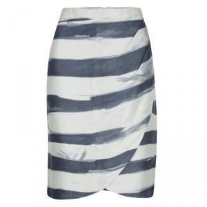 Emporio Armani Grey and Blue Striped Draped Silk Skirt L