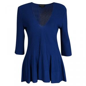 Emporio Armani Blue Ribbed Knit Flared Bottom Long Sleeve Top L