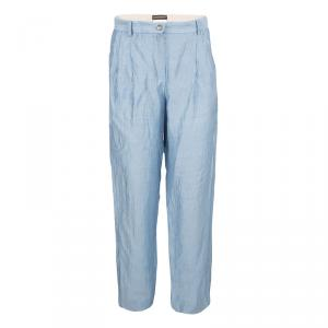 Emporio Armani Blue Linen High Waist Pants S