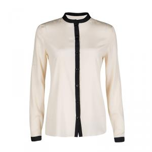 Emporio Armani Beige Contrast Trim Detail Long Sleeve Silk Blouse S