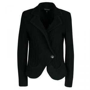 Emporio Armani Black Wool Ribbed Trim Jacket L