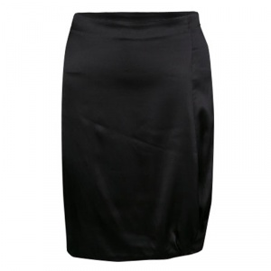 Emporio Armani Black Satin Twist Hem Detail Pencil Skirt S