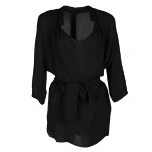Emporio Armani Black Silk Draped Front Belted Blouse S