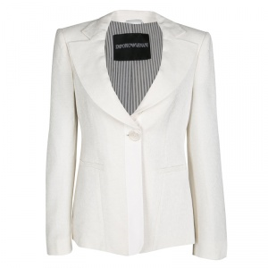 Empório Armani Cream Textured Two Button Blazer M
