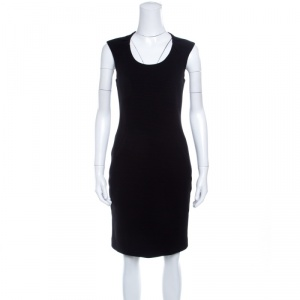 Emporio Armani Black Ribbed Knit Cap Sleeve Dress M