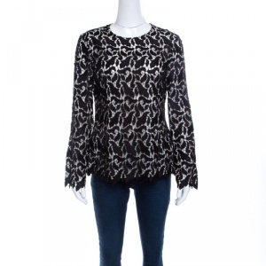 Emporio Armani Black Guipure Lace Long Sleeve Blouse M