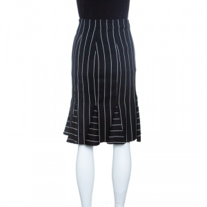 Emporio Armani Striped Monochrome Wool Godet Skirt M