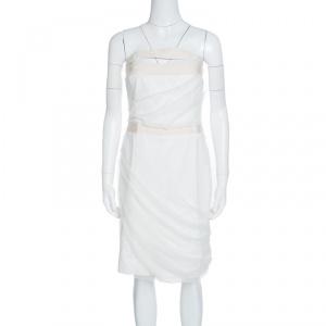 Emporio Armani White Draped Tulle Strapless Dress M used