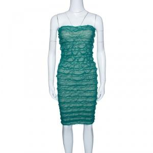 Emporio Armani Green Puckered Mesh Applique Detail Tube Dress M used