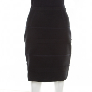 Emporio Armani Black Knit Contrast Top Stitch Detail Mini Skirt M