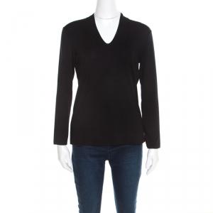 Emporio Armani Black V-Neck Long Sleeve Top M