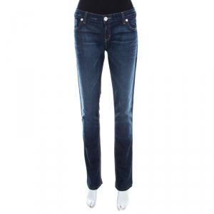 Emporio Armani Indigo Faded Effect Denim Distressed Tapered Jeans M