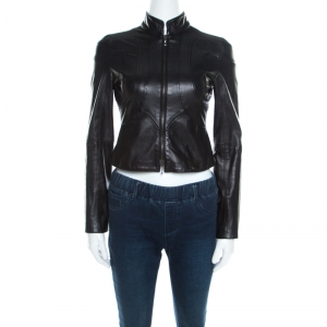 Emporio Armani Black Leather Paneled Cropped Moto Jacket S
