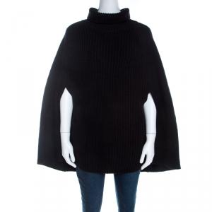 Emporio Armani Black Chunky Rib Knit Cotton Wool Turtleneck Cape M