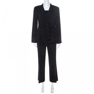 Emporio Armani Black Pinstripe Wool Padded Shoulder Tie Front Detail Tailored Suit M