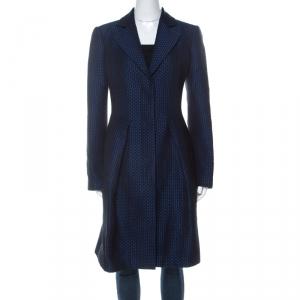 Emporio Armani Blue Wool Jacquard Mid Length A-Line Coat M
