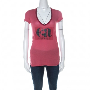 Emporio Armani Berry Pink Logo Print Jersey T-Shirt S - used