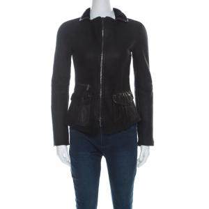 Emporio Armani Black Lamb Skin Shearling Detail Jacket S
