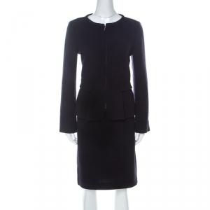 Emporio Armani Navy Blue Wool Zip Front Skirt Suit M