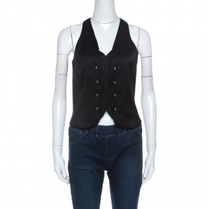 Emporio Armani Black Wool Blend Show Button Detail Waist Coat S