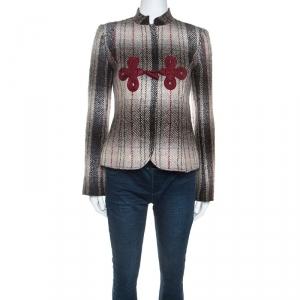 Emporio Armani Beige & Maroon Plaid Mohair Mandarin Buttoned Jacket S