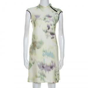 Emporio Armani Multicolor Printed Crepe Mandarin Collar Dress S