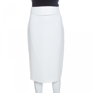 Emporio Armani Off White Silk Waist Band Detail Sheath Skirt M