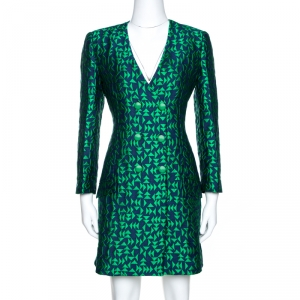 Emporio Armani Bicolor Jacquard Long Sleeve Shift Dress M