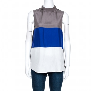Emporio Armani Color Block Silk Sleeveless Top S