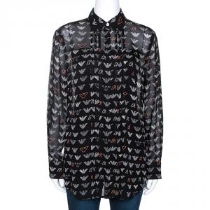 Emporio Armani Black Chiffon Logo Print Sheer Blouse M