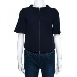 Emporio Armani Navy Blue Crepe Zip Front Jacket XS