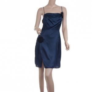 Emporio Armani Navy Silk Dress with Black Floral Embellishment