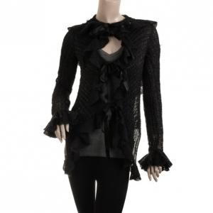 Emporio Armani Black Ruffled Sweater S