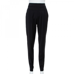 Emporio Armani Black Wool High Waist Tapered Trousers S